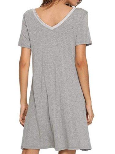 Simple & Basic Solid Short Sleeve Ballistic Nylon Dresses