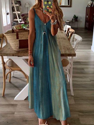 Dyed Maxi Spaghetti Holiday Dress