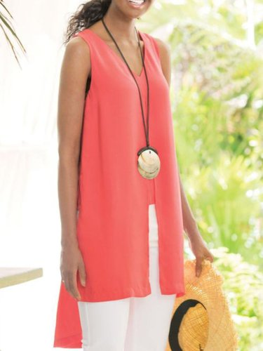 Red Cotton-Blend Casual Sleeveless Shirts & Tops