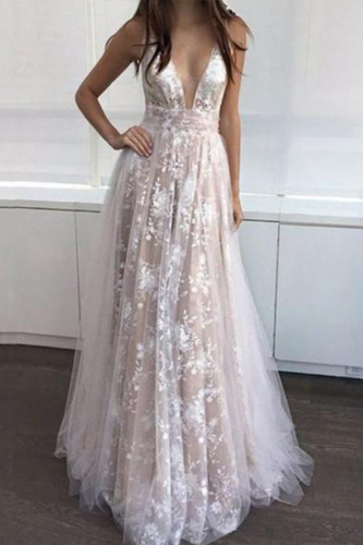 Sexy V Collar Lace Evening Dress