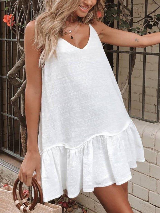 White V Neck Linen Sleeveless Swimwear