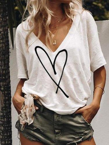 Love-Printed Casual Daily Shirts & Tops