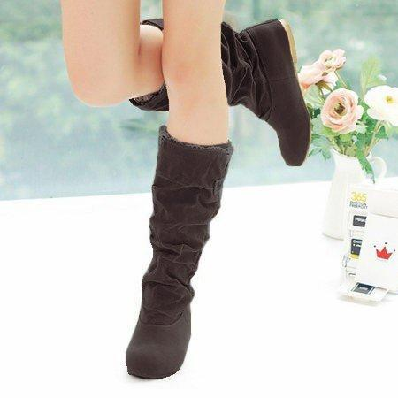 Ruched Suede Women Mid-Calf Slip-On Boots