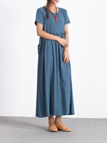 Blue Short Sleeve Crew Neck Linen Dresses