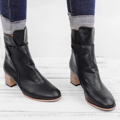 Women  Motorcycle Winter Boots  Low Heel Vintage Artificial Leather