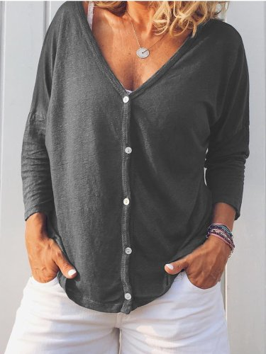 Long Sleeve Sweet Buttoned Cotton Shirts & Tops