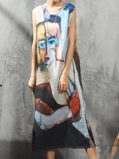 Multicolor Sleeveless Vintage Floral-Print Dresses