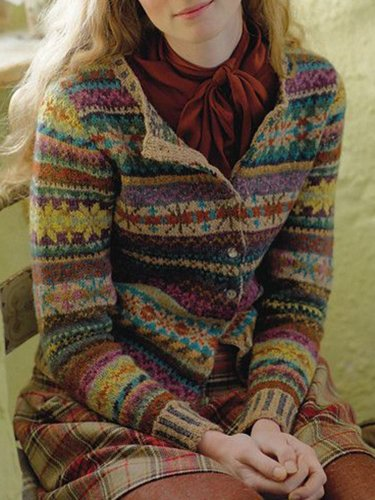 Color-Block Tribal Casual Long Sleeve Women's Cardigan