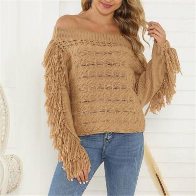 One-Neck Loose Sweater Tassel Women's Sweater