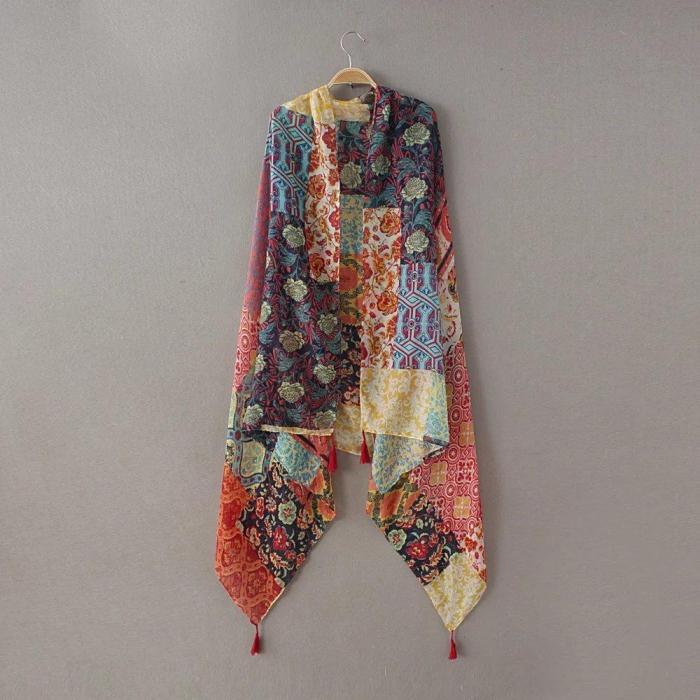 Ladies Fashion Patchwork Floral Tassel Viscose Shawl Scarf Winter