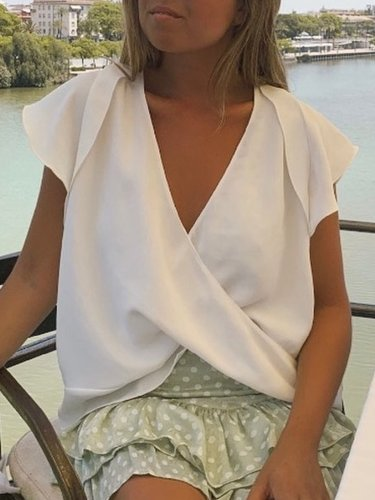 Casual Short Sleeve V Neck  Solid Tops