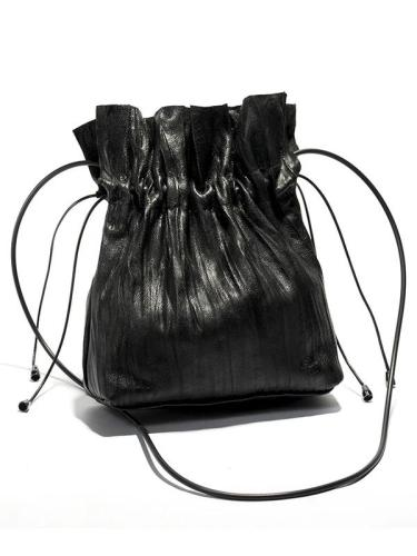 Lace-up Plicated Small Bag