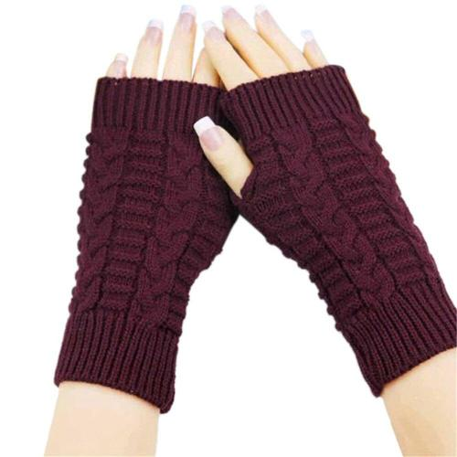 Feitong 2020 Half Finger Gloves For Women Winter Warm Wool Knitting Arm Gloves Soft Warm Mittens