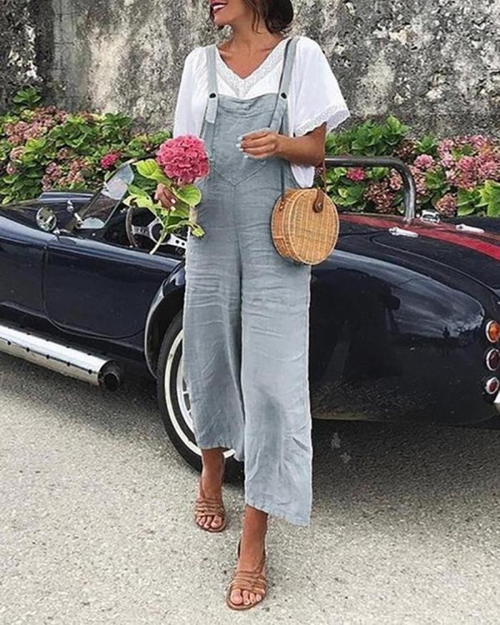 Linen Casual Fashion Strap Jumpsuit