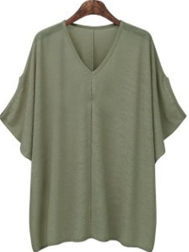 Casual V Neck Cotton-Blend Shirts & Tops