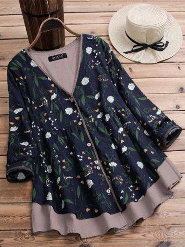 Women Casual Printed Tops Tunic Blouse Shirt