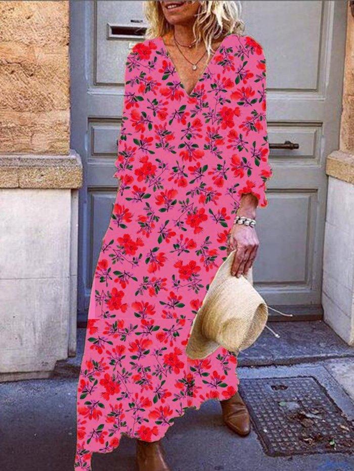 Printed Cotton-Blend V Neck 3/4 Sleeve Dresses