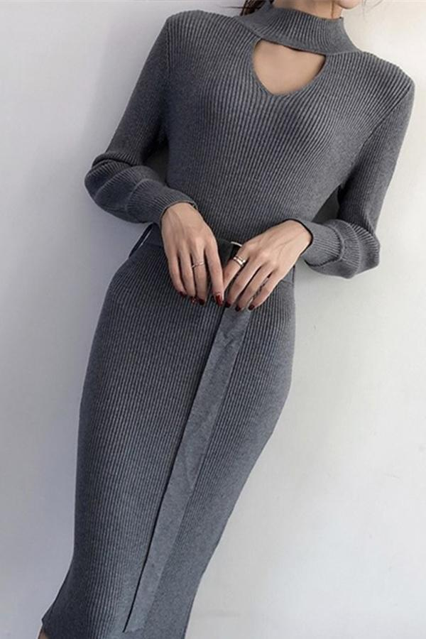 Casual Sexy Pure Color   Knitted Sweater Maxi Dresses