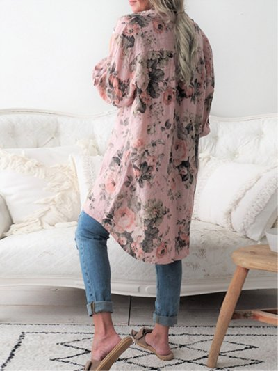 Plus Size Casual Tops Floral Printed Buttoned Long Sleeve Shirt Blouse