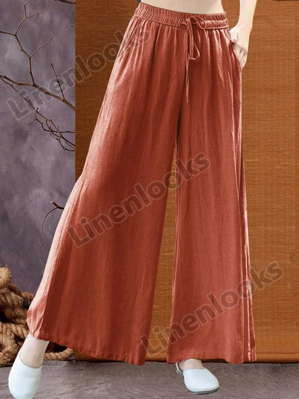 Loose Drawstring Solid Color Cotton Wide Leg Women's Plus Size Linen Casual Pants