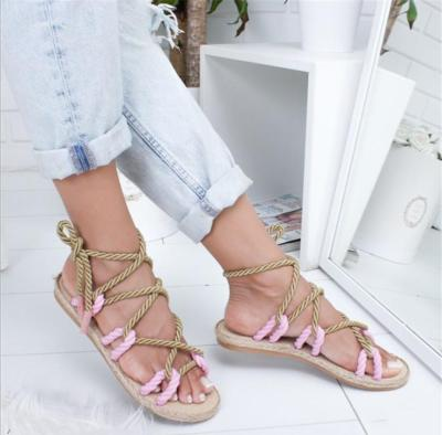 Women Rome Stagger Hemp Rope Sandals Gladiator Cross Beach Shoes Summer