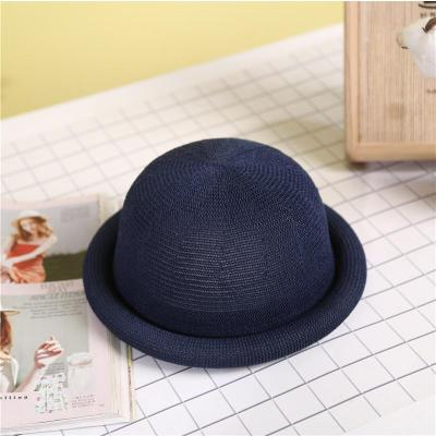 Women's New Knitted Cotton Hemp Roll Edge Dome Wool Korean Version of The Small Hat.