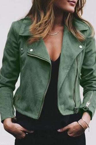 Street Style Zipper Suede Jacket