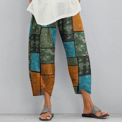 Printed Trousers Vintage Women's Harem Pants 2020 Casual Elastic Waist Long Pantalon Female Asymmetrical Turnip