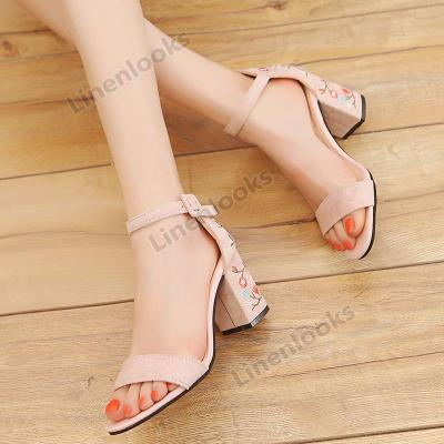 New Style Suede Buckle Comfortable High Heel Thick Sandals Female Embroidery