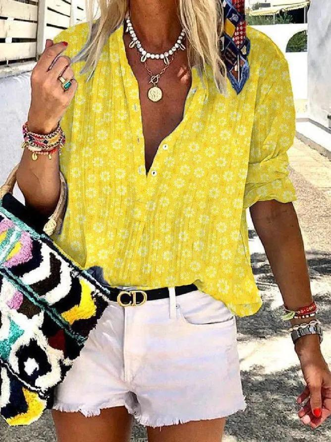 Yellow Long Sleeve Floral Crew Neck Floral-Print Shirts & Tops