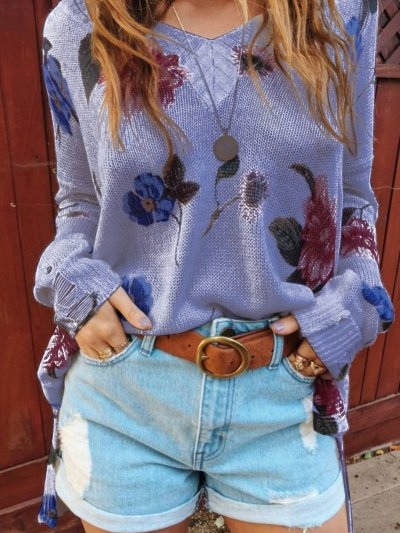 V Neck Long Sleeve Casual Floral Sweaters