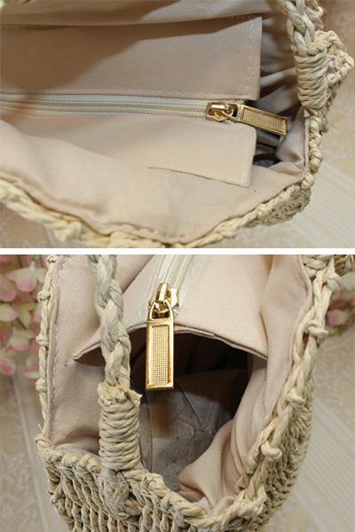 Women's Beach Zipper Woven Straw Sling Bag Handbag