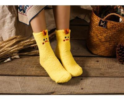 Japanese Style Embroidery Stereo Home Coral Velvet Kettle Socks Box Floor Sox Half Velvet Socks Christmas Socks