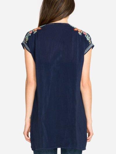 Deep Blue Plain Short Sleeve V Neck Shirts & Tops