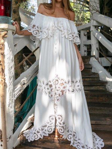 Vintage Women Off Shoulder Elegant Maxi Dresses