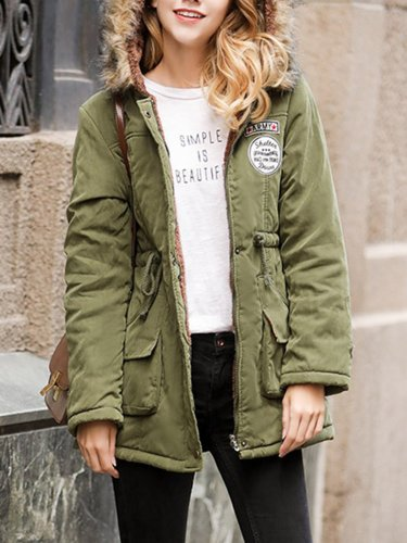 Khaki Solid Pockets Hoodie Casual Quilted Coat