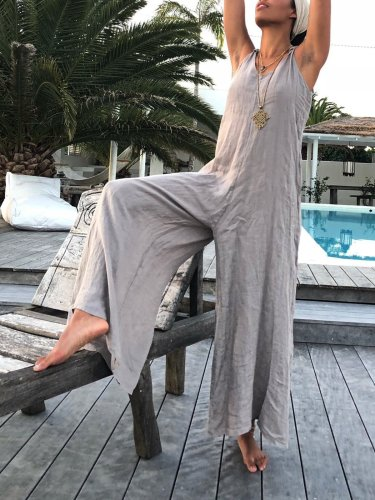Casual Round Neck Sleeveless One-Pieces