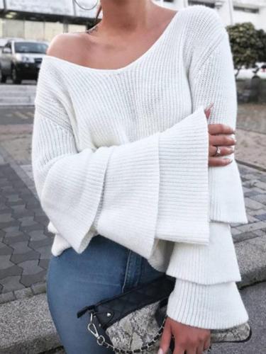 Trumpet Sleeve V-Neck Solid Color Knit Sweater
