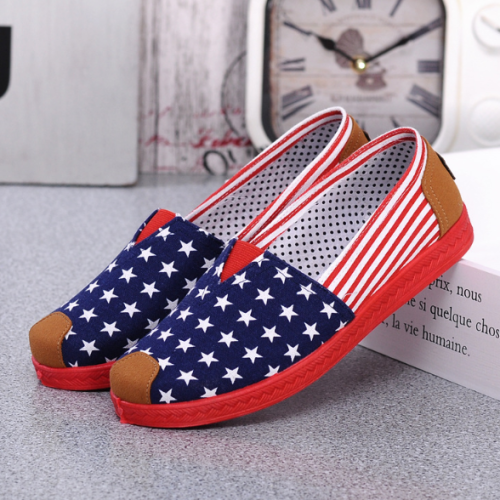 STAR Stripe Canvas Flat Slip On Loafers