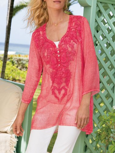 Red Cotton 3/4 Sleeve Shirts & Tops