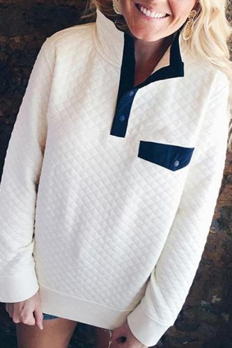 Fashion Turtle Neck Pocket Button Long Sleeve Sweatershirt