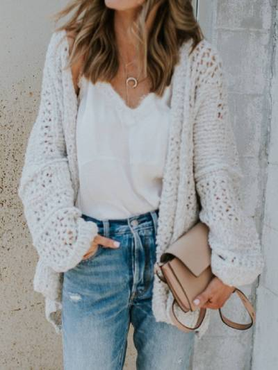Plus Size Knitted Solid Casual Sweater