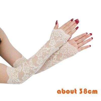 Lace Arm Sleeve Mittens Covered Summer Sunscreen Lace Gloves Women