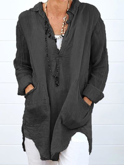 Double Pockets Long Sleeve Plus Size Shirts