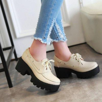 Women Spring/fall Daily Chunky Heel Lace-Up Oxfords
