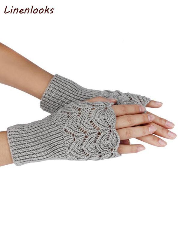 Women's Autumn Winter Fingerless Knit Mittens Gloves