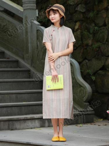 Cotton and Linen Retro Art Printing Long Dress Women's Summer