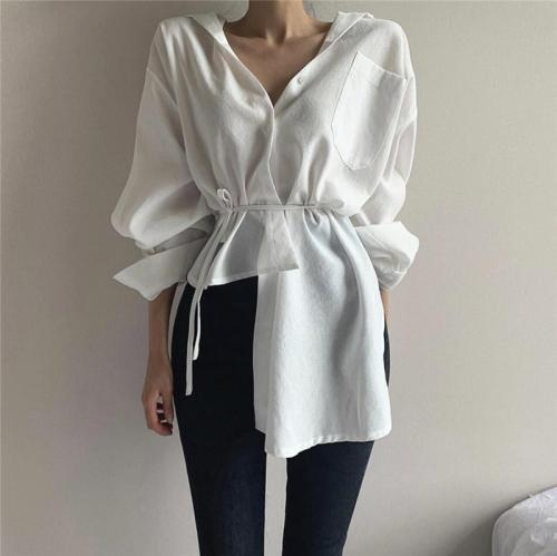 Women Shirts Single-breasted Solid Color Irregular Cotton Ladies Blouses Tops