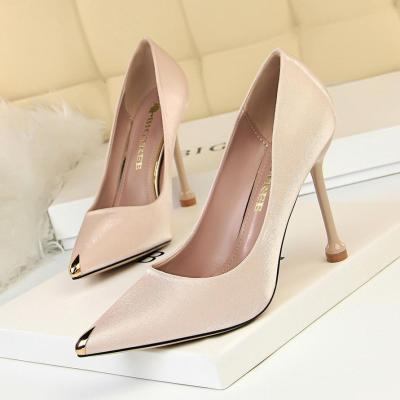 Metal Pointed Toe Elegant Women Pumps Stilettos High Heels Party Office Shoes