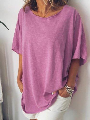 Round Neck Casual Short Sleeve Shirts